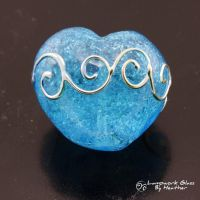 Metallic Scrolls on Aqua Heart by booga119