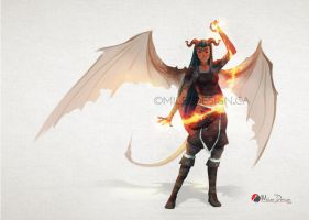 Dungeons and Dragons Tiefling Posing by Milee-Design