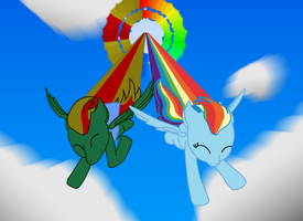 Verdant Binary And Rainbow Dash flying by Tassadoul
