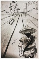 sketch drawing of a zapatista by Quadraro
