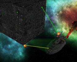 Similar Starfleet Sovereign ship vs Borg Cube by MurbyTrek