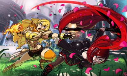 Yang Xiao Long VS Ruby Rose commission by Ganassa