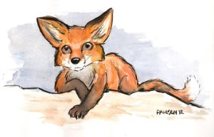 Red fox watercolor by chrispco