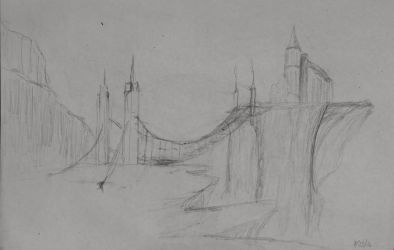 Sketch: Bridge to the Cliffs by TylersArtShack