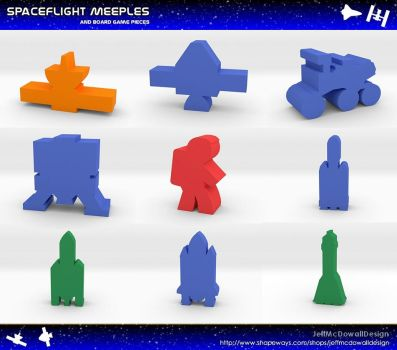 Spaceflight Meeples and Game Pieces by jeffmcdowalldesign