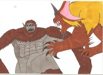 Attack On Titan King Caesar Vs Beast Titan By Tyrannuss555 On