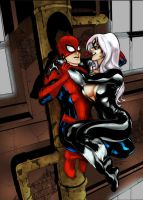 Spidey and Black Cat by azoulin