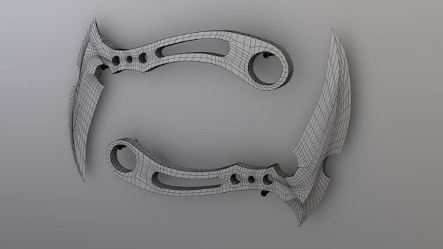 Curved Knife- wire render by JWright-3D-Graphics