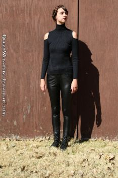 Glamaker cold shoulder sweater + pleather pants by QueenWerandra