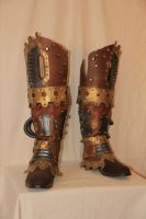 Leather steampunk boots by HamraBDG