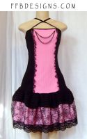 Pink spiderweb dress by funkyfunnybone