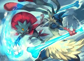 Pokemon : MegaLucario vs Weavile