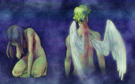 Colored-Eros and Psyche by queenbean3