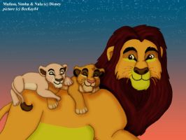 TLK: Mufasa with sleeping cubs by MutantPiratePrincess