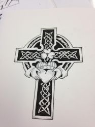 Celtic and claddagh cross not colored by CassieDark