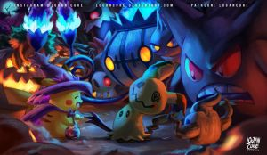 Mimikyu and Pikachu - Pokemon halloween 2016 by logancure