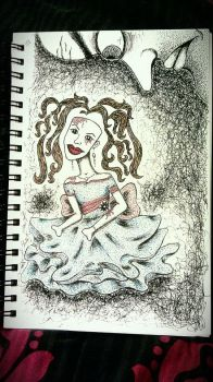 Just Looking Pen Drawing by eptello