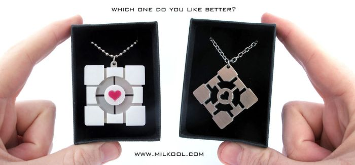 Portal companion cube necklace giveaway by milkool