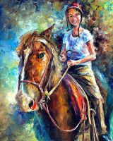 Girl On Horse by Leonid Afremov by Leonidafremov