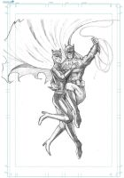 Batman and Catwoman WIP by J-Rayner