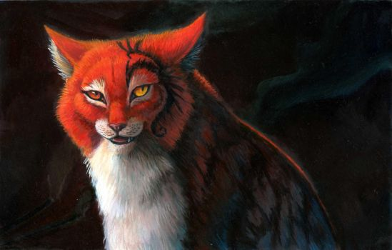 Cat painting WIP by hibbary
