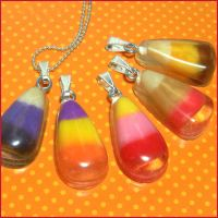 Candy Corn Resin Necklaces by bapity88