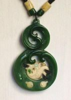 jade and bone carved pendant by savagewerx