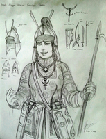 Concept Sketch - Magyar Female Warrior by Gambargin
