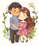 Chibi Couple Commission 02 by LonelyFullMoon