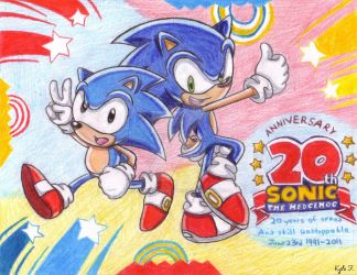 Modern and Classic Sonic: 20th Anniversary by SailorMoonAndSonicX