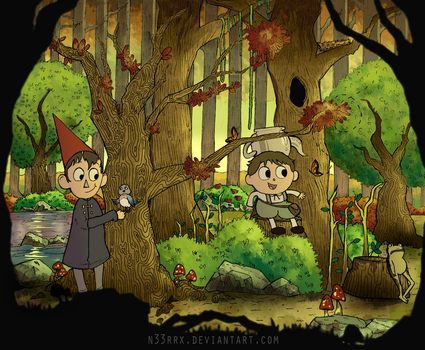 Over The Garden Wall Ink Drawing (Colored) by n33rrx