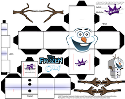 Cubeecraft template of Olaf from Disney's Frozen by SKGaleana