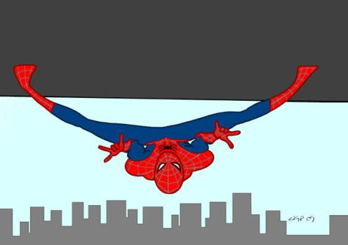 spider man upside down by Kryptoniano