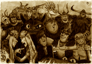 HTTYD - Group Photo in Sepia by Contraltissimo