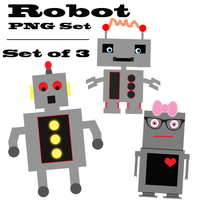 Set of Three Robot PNGs by frenzymcgee