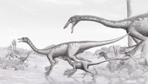 Gallimimus and Velociraptor by Steveoc86