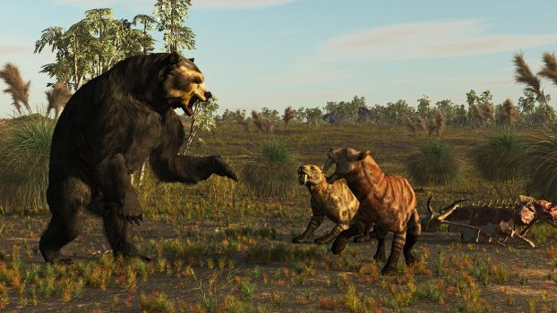 Arctotherium and Smilodon: South America 3 Ma by PrehistoricArt