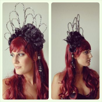 -:Black and Silver Gothic Headpiece:- by CarolineSuominen