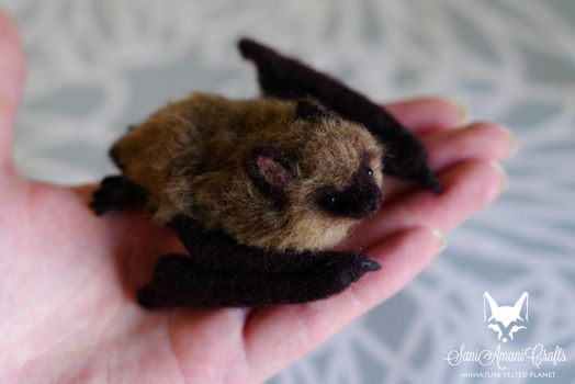 Needle felted brown bat 4 by SaniAmaniCrafts