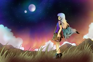 long road. look the new sky by Nagusame