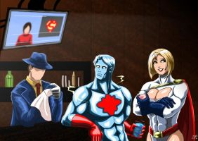 Captain Atom and Power Girl - Question's Bar by adamantis