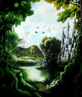 the land of my dreams-painting by HiddenTreasury