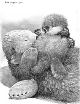 SEA OTTER MOTHERS DAY CARD SKETCH by Psithyrus