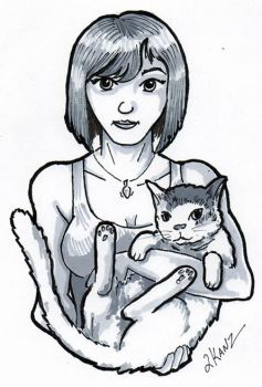 Girl And Cat005 by Raven-The-Mad