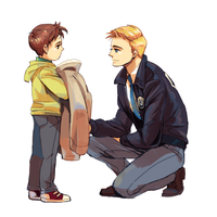 DC:  Barry and kid Hal by dwandwan
