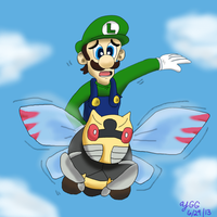 Special Request Luigi riding on Ninjask