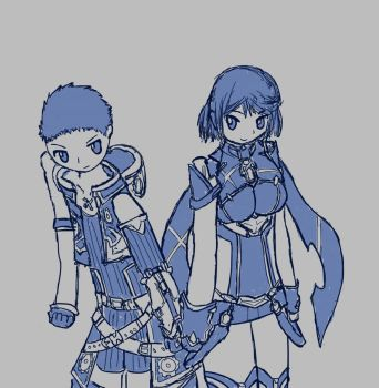 rex and pyra by CoroQuetz