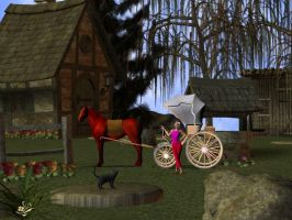 Poser Szene Woman and carriage by Feesleconetart