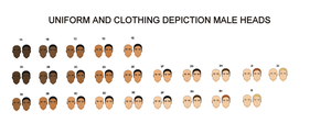 Uniform and clothing depiction male heads by YamaLama1986