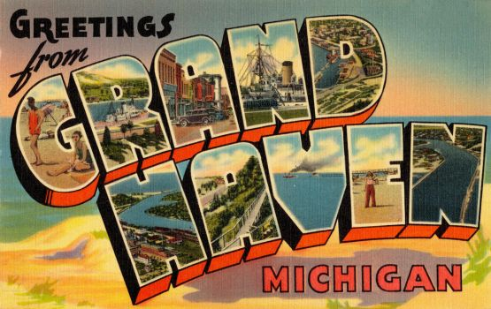 Large Letter Postcard - Grand Haven MI by Yesterdays-Paper